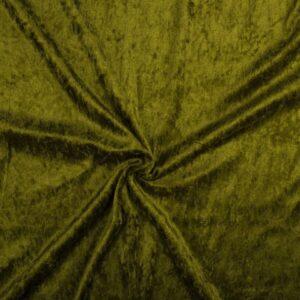 Crushed velvet khaki groen