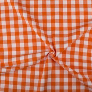 Oranje wit geruite stof