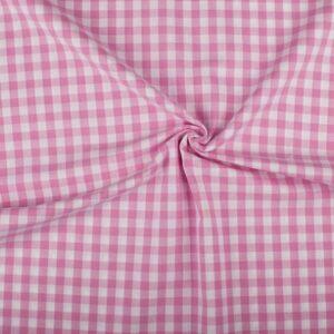 Geruite stof roze